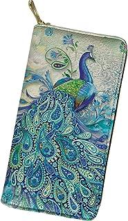 QIZHAOLAN Women's Leather Slim Wallet Peacock Clutch Purse Zipper Coin Pocket Money Organzier Card Holder for Daily Shoppi...