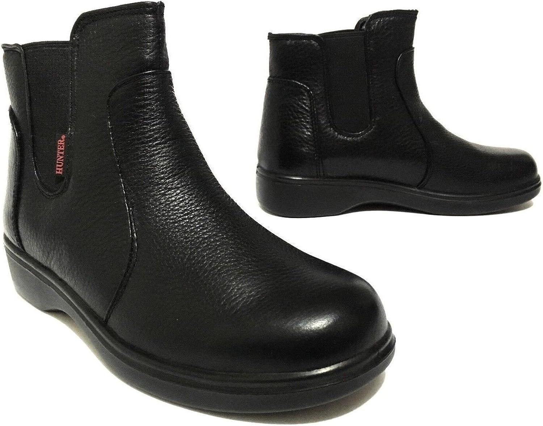 Grand Hunter Oil & Slip Resistant Genuine Leather Pull On Work Boots for Women Black