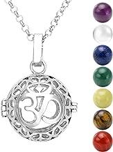 Jovivi Collar con colgante Colgante en forma de Bola para embarazada plata OM symbol 7 Pièrres Chakras naturales Tibétin budista redondos, 16 mm