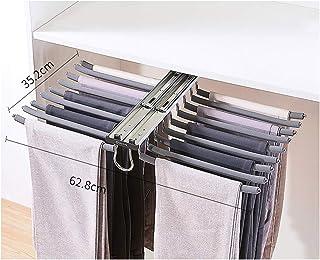 Gnova Perchero Colgador extra/íble de Armario para 18 Pantalones,Pantalonero Extraible Antideslizante,Marr/ón//Naranja,Doble gu/ía