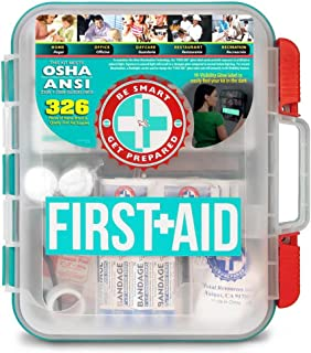 First Aid Kit Hard Teal Case 326Piece Exceeds OSHA & Ansi Guidelines
