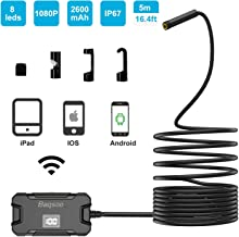 Wireless Endoscope Camera, Baqsoo 2.0 MP 1080P HD WiFi Borescope Inspection Camera IP67 Waterproof Inspection Snake Camera for Android and iOS Smartphone, iPhone, Samsung, Tablet-Black(16.5FT)