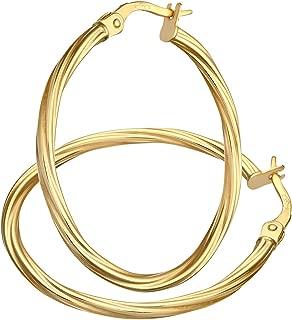 Gold screw hoop earrings 9 carat yellow 45mm diameter