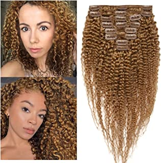 S-noilite Kinky Curly Clip in Human Hair Extensions for Black Women Afro Kinky Curly Remy Human Hair for African American Lady Double Weft Full Head #27 Dark Blonde 16Inch 8PCS/18Clips/Set