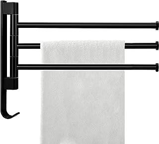 Toalleros de Barra para ba/ño Toallero Giratorio con Brazo Plegable Toallero De Ba/ño Montado En La Pared Toallero Abatible para Colgar 2 Toallas A Prueba De /óxido 33x5.7x8.1cm Color:Negro