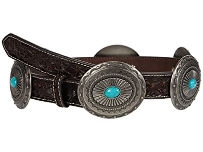 Ariat 1 1/4 Pierced Inlay Concho Belt (Tan/Turquoise) Women
