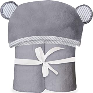 San Francisco Baby Ultra Soft Bamboo Hooded Baby Towel - Soft, Hooded Bath Towels with Ears for Babies, Toddlers - Large Baby Towel Perfect for Boys and Girls - Gray