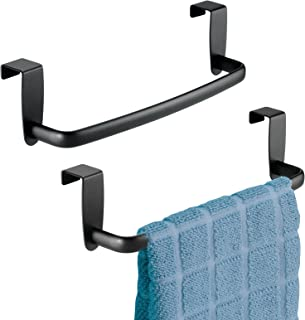 mDesign Modern Kitchen Over Cabinet Strong Steel Towel Bar Rack - Hang on Inside or Outside of Doors - Storage and Organiz...