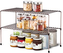 WOSOVO Expandable Stackable Cabinet Shelf Kitchen Counter Rack Organizer Multipurpose Pantry Bedroom Bathroom Storage Rack...