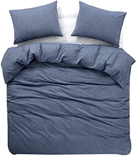 Wake In Cloud - Denim Blue Duvet Cover Set, 100% Washed Cotton Yarn Dyed Plain Solid Color, Soft Bedding with Zipper Closure Corner Ties (3pcs, Queen Size)