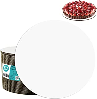 [20 Pack] 12 Inch Round Cake Boards - Grease Proof Cardboard Disposable Cake Pizza Circle Scalloped White Tart Decorating ...