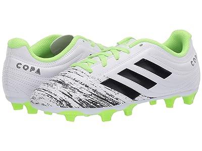 adidas Kids Copa 20.4 FG J Soccer (Little Kid/Big Kid) (White/Black/Signal Green) Kids Shoes