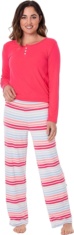 KICKEE Women's Print Long Sleeve Pajama Set, Henley Tee, Relaxed Fit Pants, Ultra Soft Bamboo Viscose Sleepwear for Women