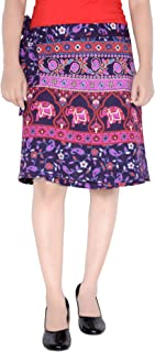 Women's Cotton Printed Knee Length Regular Wrap Around Skirt (W20NT_0003)
