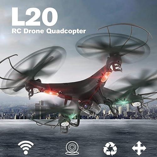 WOSOSYEYO L20 Smart Selfie FPV RC Drohne Quadcopter Flugzeug UAV mit Echtzeit 0.3MP Kamera CAM Headless-Modus 3D-Flip (Schwarz