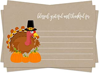 Thanksgiving Party Game (25 Pack) Feeling Thankful, Blessed, Grateful for Fill In Cards – Uses Dinner, Families, Friends, ...