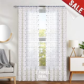 jinchan Sheer Curtains Floral Embroidered for Girls Room Blue Rose Buds Retro Voile Curtain Panels for Living Room Rod Pocket 2 Panels 55