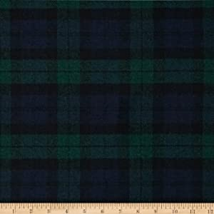 Spechler-Vogel Washable Wool Plaid Fabric by The Yard, Blue/Green