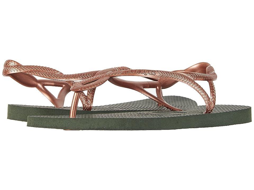 Havaianas Luna Flip Flops (Green Olive) Women