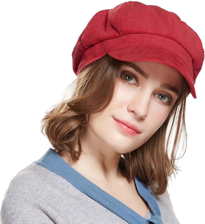 Beret Corduroy Newsboy Hat for Women Visor Adjustable Winter Octagonal Cap for Ladies