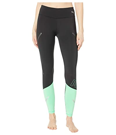 PUMA Runner ID Thermo-R+ 7/8 Tights (Puma Black/Green Glimmer) Women