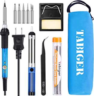 TABIGER Soldering Iron Kit Electronics 60W Adjustable Temperature Welding Tool with 5pcs Soldering Iron Tips, Soldering Iron Stand, Desoldering Pump, Solder Wire and Portable Carry Bag