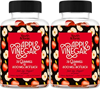 2 Pack of 150 Apple Cider Vinegar Gummies with Mother | 500 mg Raw Unfiltered Organic ACV per Gummy & Vitamin B12 B9 B6 |A...
