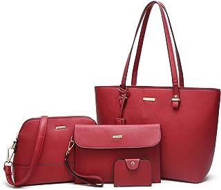 ac89418814c5 ELIMPAUL Women Fashion Handbags Tote Bag Shoulder Bag Top Handle Satchel Purse  Set 4pcs