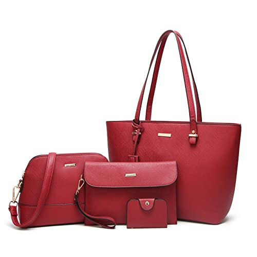 ELIMPAUL Women Fashion Handbags Tote Bag Shoulder Bag Top Handle Satchel  Purse Set 4pcs 3603e0697baf8
