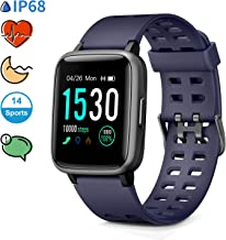 Glymnis Reloj Inteligente Smartwatch Impermeable IP68 Pulsera Actividad con Pulsómetro Monitor de Sueño Pantalla Táctil Completa Reloj Deportivo para Android iOS Azul