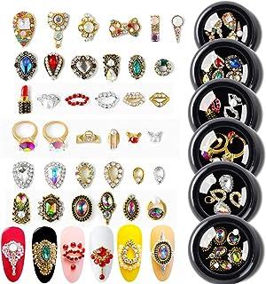 AB Crystal Rhinestones Nail Art Set Nail Gems Pink Gold Silver Gold Mix 24 Style Gems Set Rhinestone Decorations for Nail ...