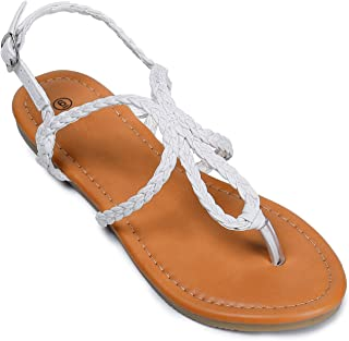 Soles & Souls Flat Sandals Braided Strap Tong Sandal for Women