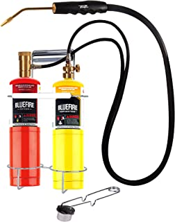 BLUEFIRE Oxygen MAPP/Propane Cutting Torch kit, Free Accessory of Flint Lighter and Cylinder Holder Rack, Duel Fuel by Oxygen and MAPP PRO/Propane, Welding Brazing Soldering,Gas Cylinders Not Included