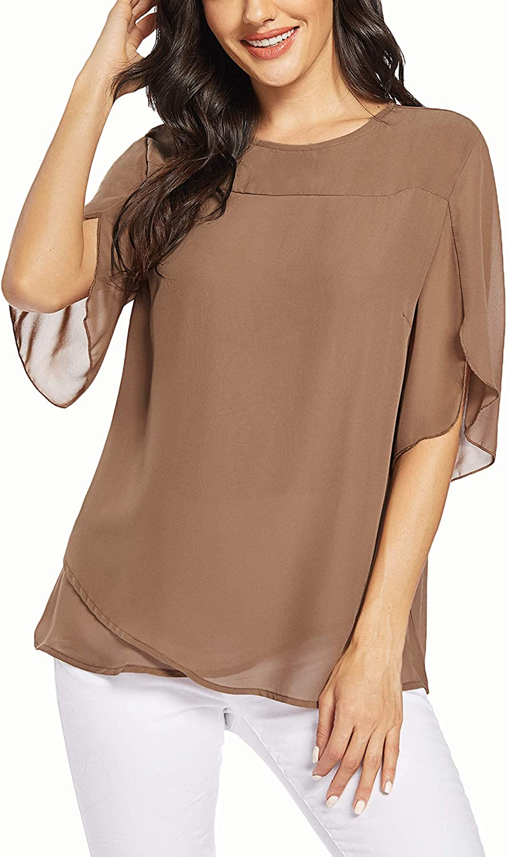 Zeagoo Womens Casual Scoop Neck Loose Top 3/4 Sleeve Chiffon Blouse Shirt Tops
