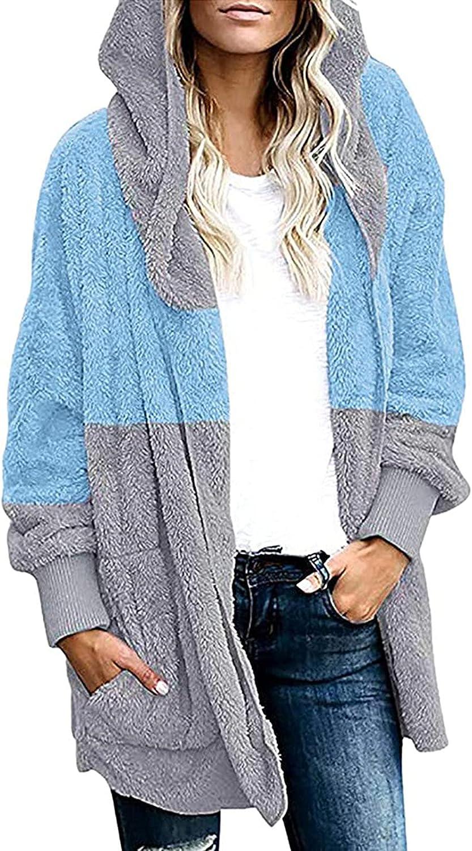 Womens Fuzzy Fleece Jacket Faux Fur Coats Hooded Open Front Card