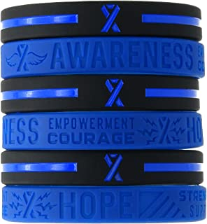 (12-pack) Blue Awareness Ribbon Silicone Wristbands - Wholesale Bulk Pack of 1 Dozen Bracelets in Unisex Adult Size