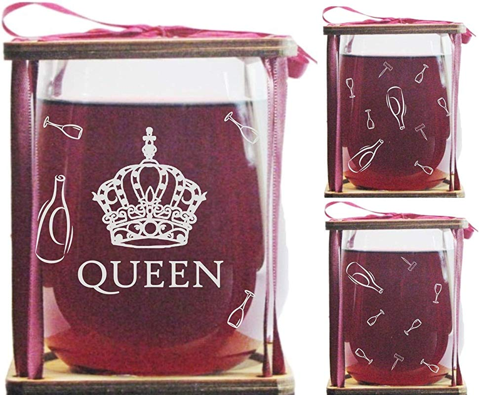 QUEEN 360 Degree Engraved Stemless Wine Glass 360 Degree Engraving Around Glass