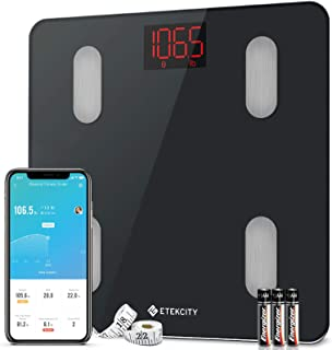 Etekcity Digital Weight Scale, Smart Bluetooth Body Fat BMI Monitor, Bathroom Weighing Tracker, 13 Key Fitness Composition...