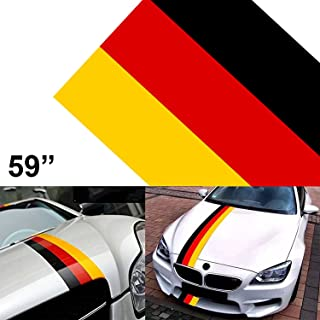 1x 59 inch Germany Flag Stripe Car Hood Body Sticker for Audi BMW Mercedes Mini Porsche Exterior Cosmetic, Hood, Roof, Bumpers