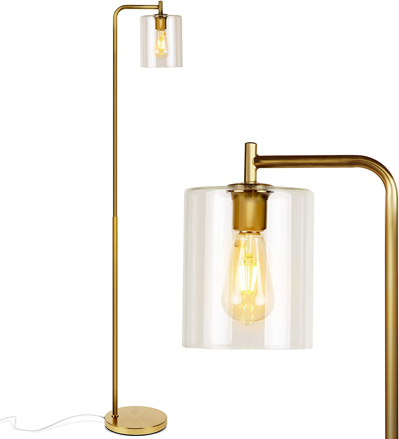Brightech Elizabeth Industrial Floor Large discharge Max 79% OFF sale Lamp Shade Edi Glass with