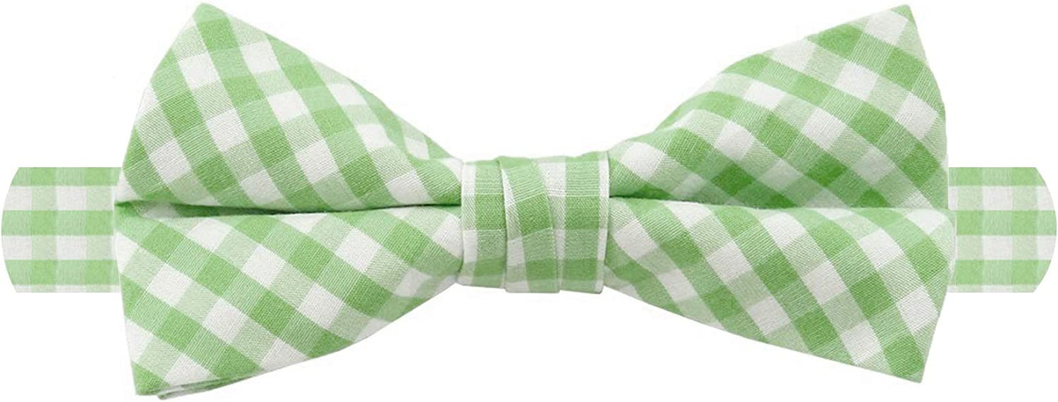 Jacob Alexander Men's Gingham Checkered Pattern Pre-Tied Banded Bow Tie