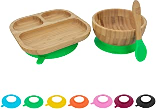 Tiny Dining Children's Bamboo Tableware Feeding Set - Plate Bowl Spoon with Stay Put Suction - Green