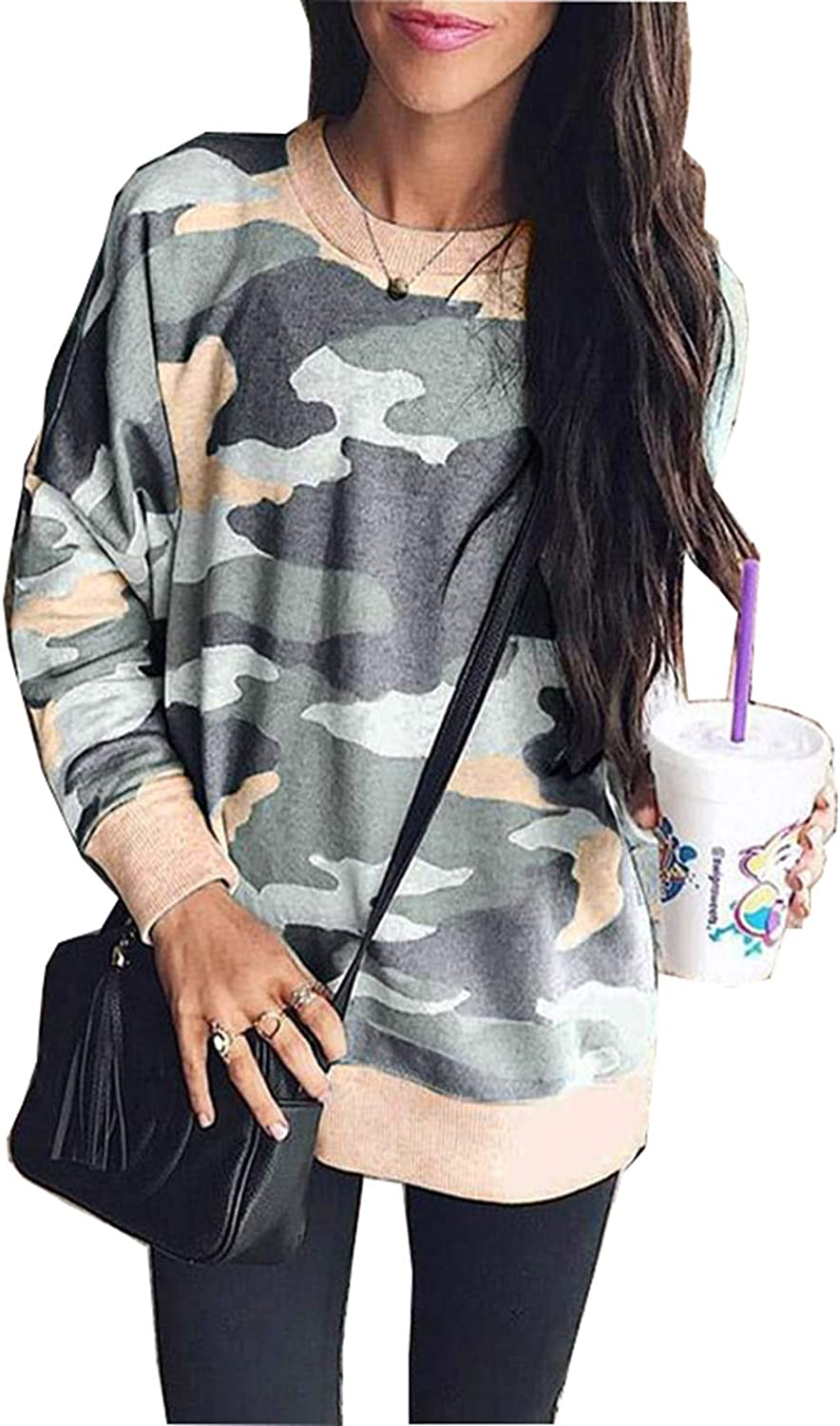 LANREMON Womens Printed Long Sleeve Fashion Sweatshirt Casual Loose Pullover T-Shirt Camouflage Blouse Tops