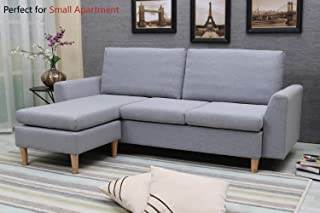 Sectional Sofa, L-Shape Sectional Couch with Reversible Chaise, Couches and Sofas with Modern Linen Fabric for Small Space (Grey-Blue)