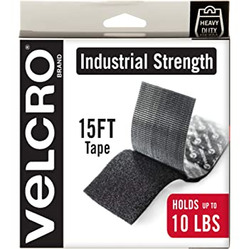 VELCRO Brand Heavy Duty Tape with Adhesive   15 Ft x 2 In   Holds 10 lbs, Black   Industrial Strength Roll, Cut Strips to Length   Strong Hold for Indoor or Outdoor Use