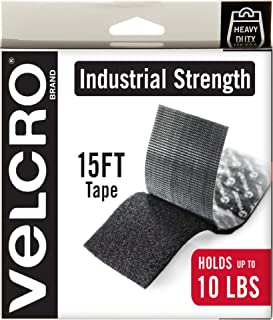 VELCRO Brand Heavy Duty Tape with Adhesive | 15 Ft x 2 In | Holds 10 lbs, Black | Industrial Strength Roll, Cut Strips to Length | Strong Hold for Indoor or Outdoor Use