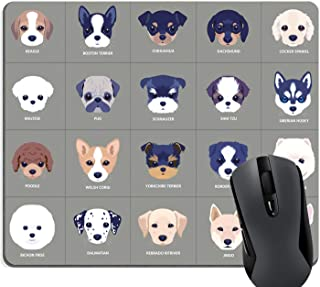Knseva 20 Cute Cartoon Puppies Funny Dogs Face Mouse pad Lovely Pets Grey Mouse Pads