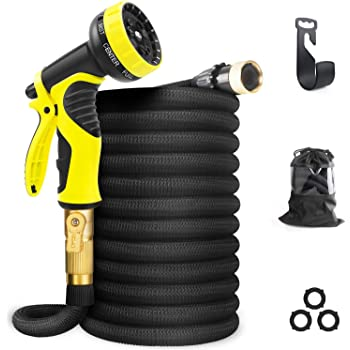 """Aterod Expandable Garden Hose, 50ft Strongest Flexible Water Hose, 9 Functions Sprayer with Double Latex Core, 3/4"""" Solid Brass Fittings, Extra Strength Fabric - Upgraded Lightweight Expanding Hose"""