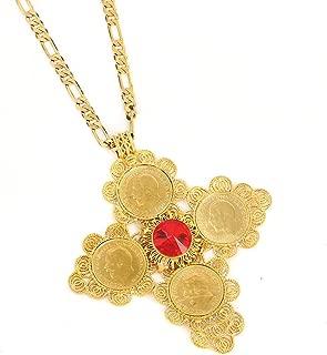 Ethiopian Big Coin Cross Pendant Necklace Women Africa Habesha Ethiopian Eritrea Jewelry