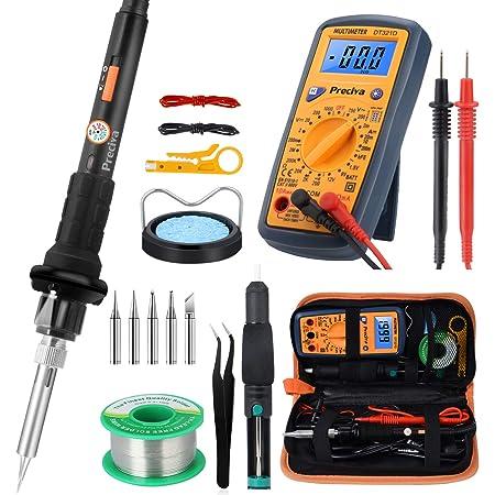 60W Soldering Iron Gun Kit Electrical Tool Set Solder Station Case Multimeter US